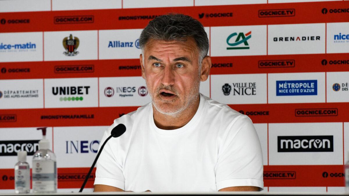 Christophe Galtier, l'entraîneur de Nice, en conférence de presse. Icon Sport