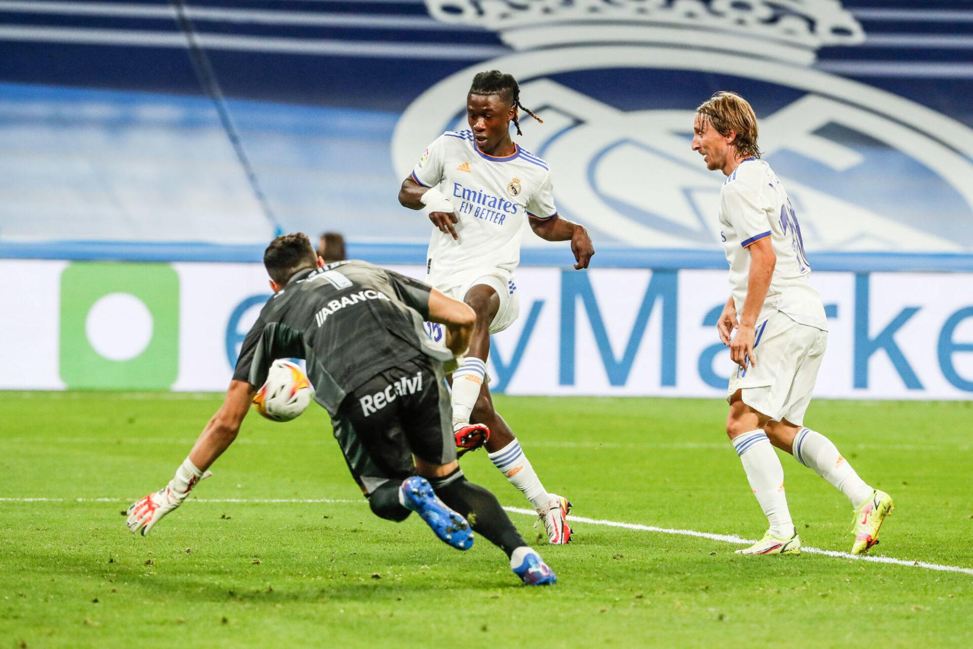Opportuniste, Eduardo Camavinga a marqué son premier but pour le Real. Icon Sport