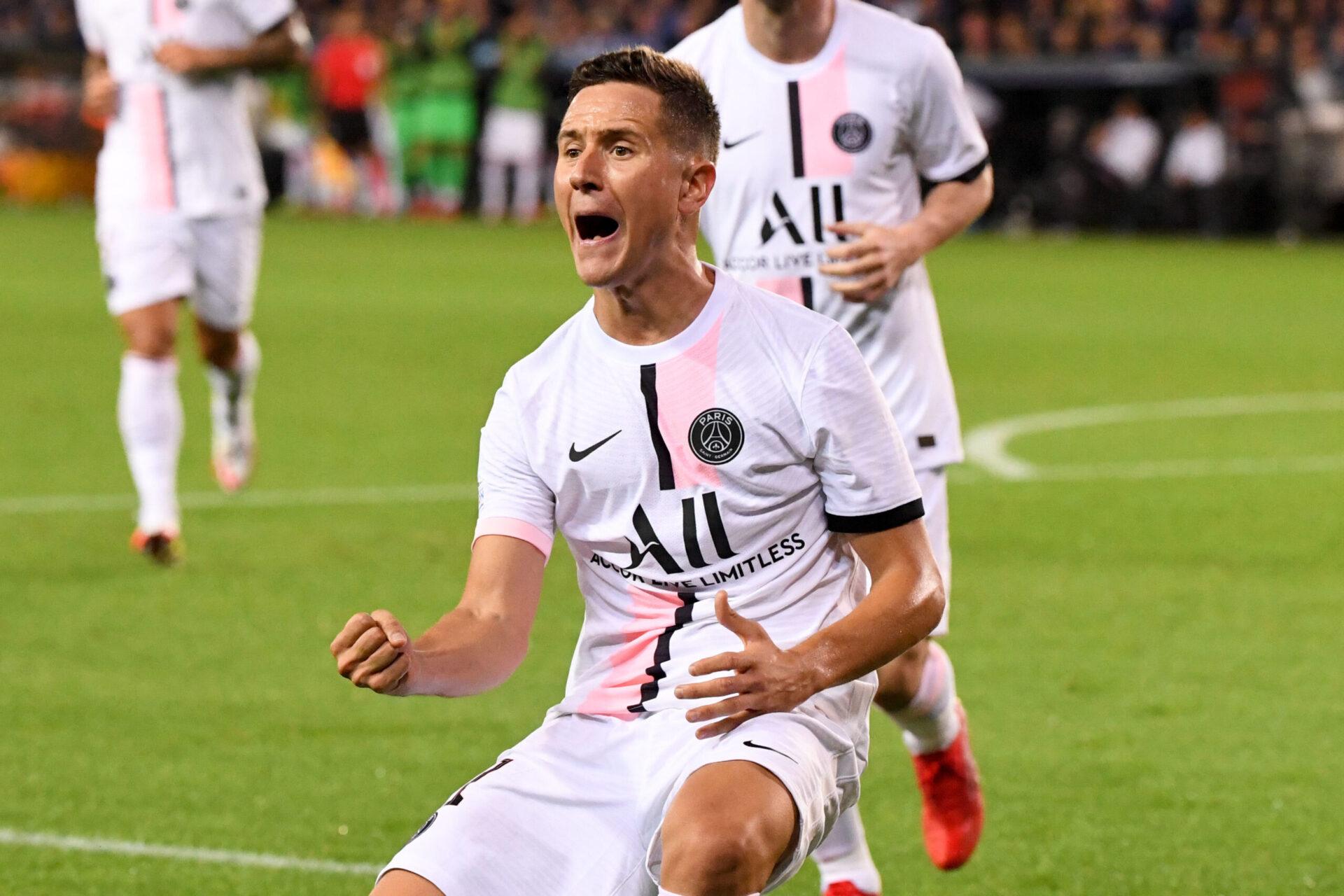 Ander Herrera célébrant son but avec les Parisiens lors de la Ligue des Champions en 2022 (Icon Sport)