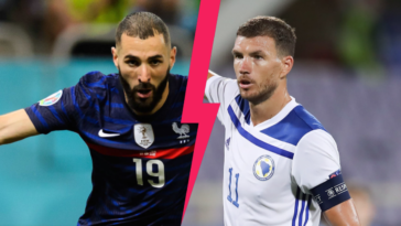 Karim Benzema mènera l'attaque des Bleus face à la Bosnie d'Edin Dzeko, ce mercredi 1er septembre. Icon Sport