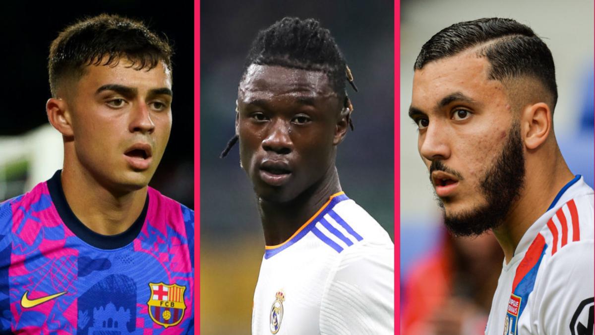 Pedri (Barça), Eduardo Camavinga (Real Madrid) et Rayan Cherki (Lyon) font partie des nommés pour le Golden Boy 2021. Icon SPort
