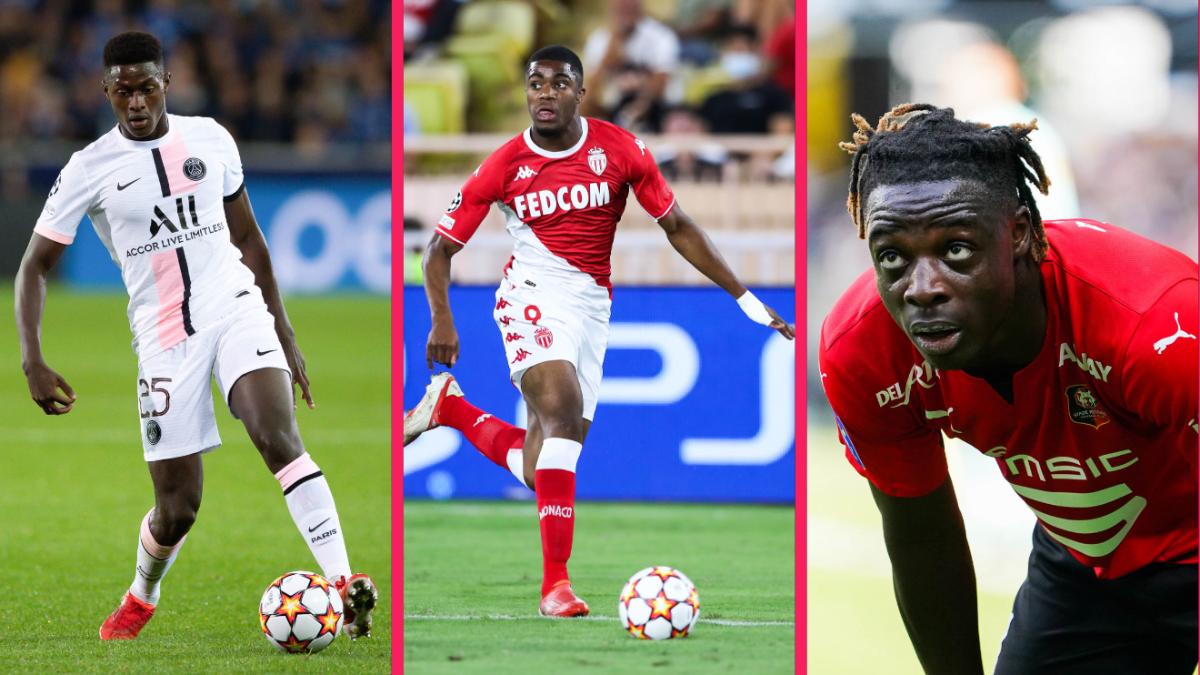 De gauche à droite : Nuno Mendes (PSG), Myron Boadu (Monaco) et Jérémy Doku (Rennes). Icon Sport