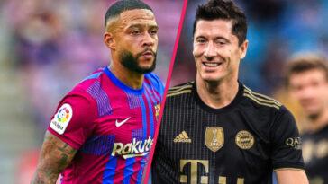 Memphis Depay et Robert Lewandowski conduiront tous deux l'attaque de leur équipe ce mardi soir dans le premier choc de cette édition de Ligue des champions entre le Barça et le Bayern (iconsport)