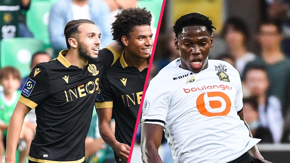 Nice a défait Saint-Etienne grâce notamment à des buts de Gouiri et Stengs, tandis que Lille s'est imposé à Strasbourg avec un doublé de David. Icon Sport