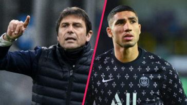 Ancien entraîneur d'Achraf Hakimi à l'Inter Milan, Antonio Conte a expliqué que le rêve du Parisien était de jouer au Real Madrid (iconsport)