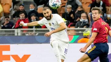 Karim Benzema lors de son but contre l'Espagne. Icon Sport