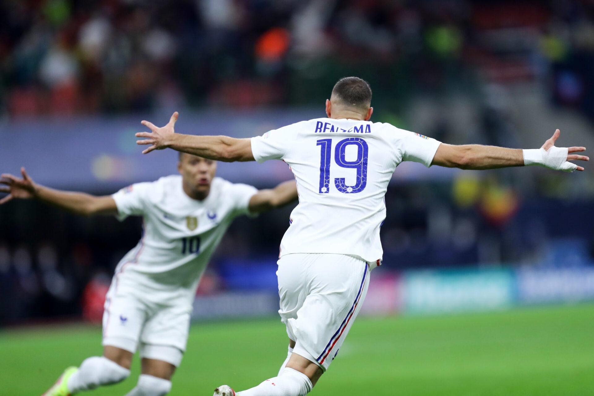 Karim Benzema célèbre après son but lumineux contre l'Espagne. Icon Sport