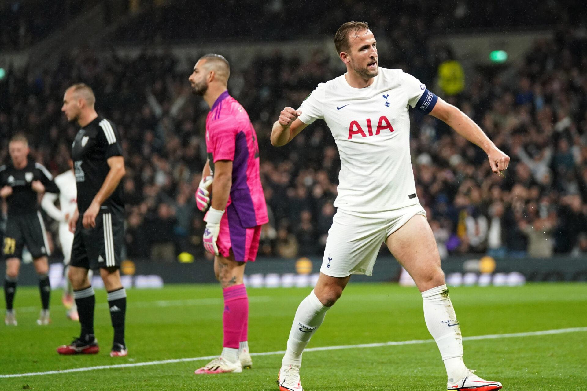Harry Kane, muet en Premier League, s'est refait une santé en Ligue Europa Conférence contre Mura, inscrivant un triplé. Icon Sport