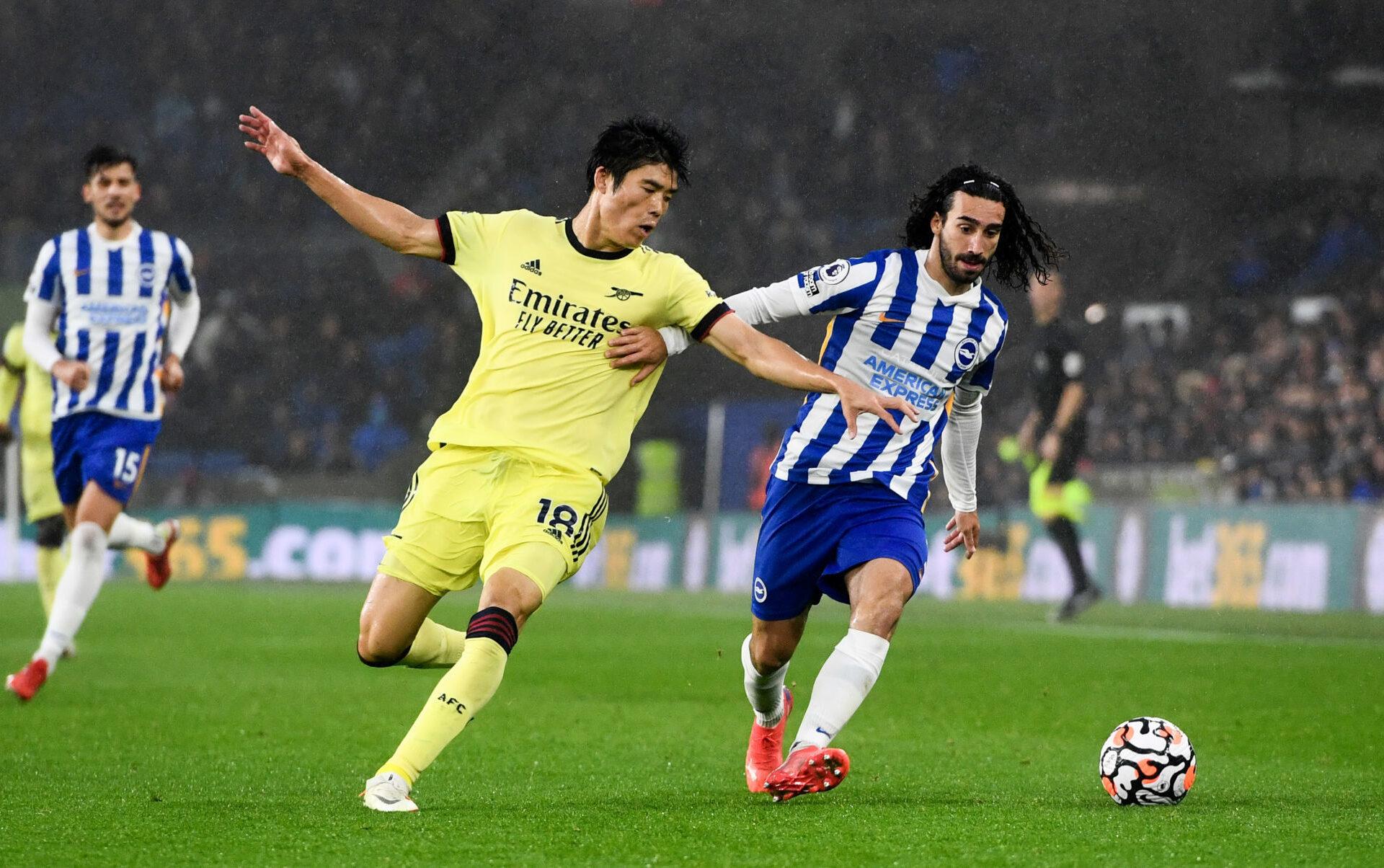 Arsenal et Takehiro Tomiyasu (à gauche) ont souffert face à Brighton, mais ont évité la défaite. Icon SPort