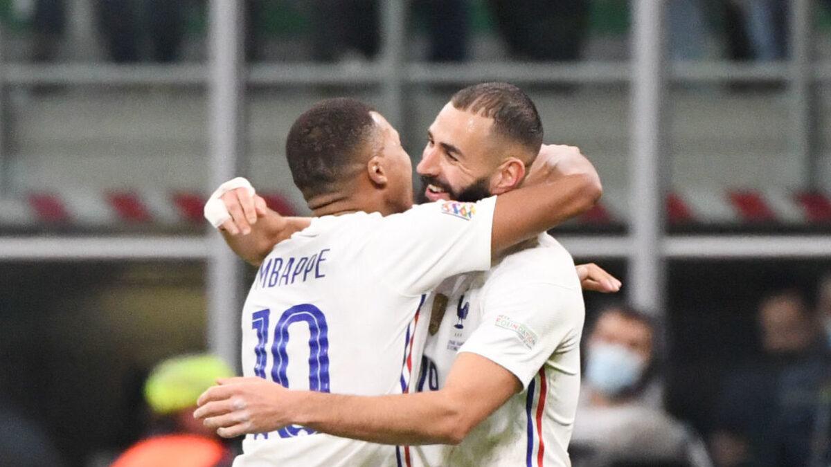Karim Benzema a une nouvelle fois abordé la possible venue de Kylian Mbappé au Real Madrid. Icon Sport