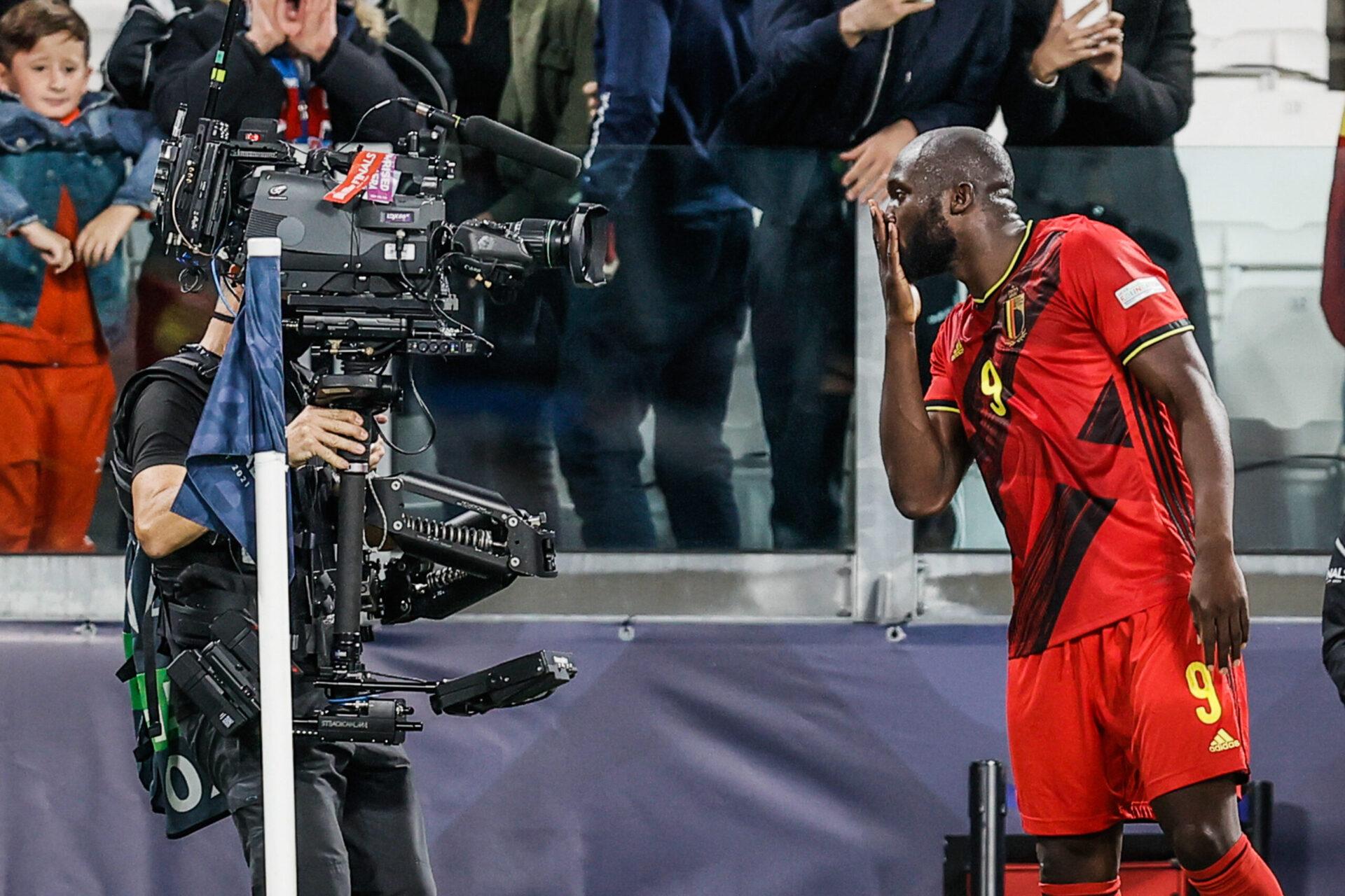 Romelu Lukaku fête son but face à l'équipe de France au Juventus Stadium. Icon Sport
