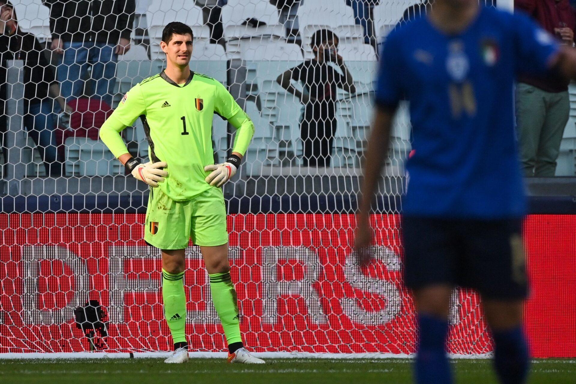 Thibaut Courtois n'avait pas envie d'être là contre l'Italie, lors du match pour la troisième place de la Ligue des nations. Icon Sport