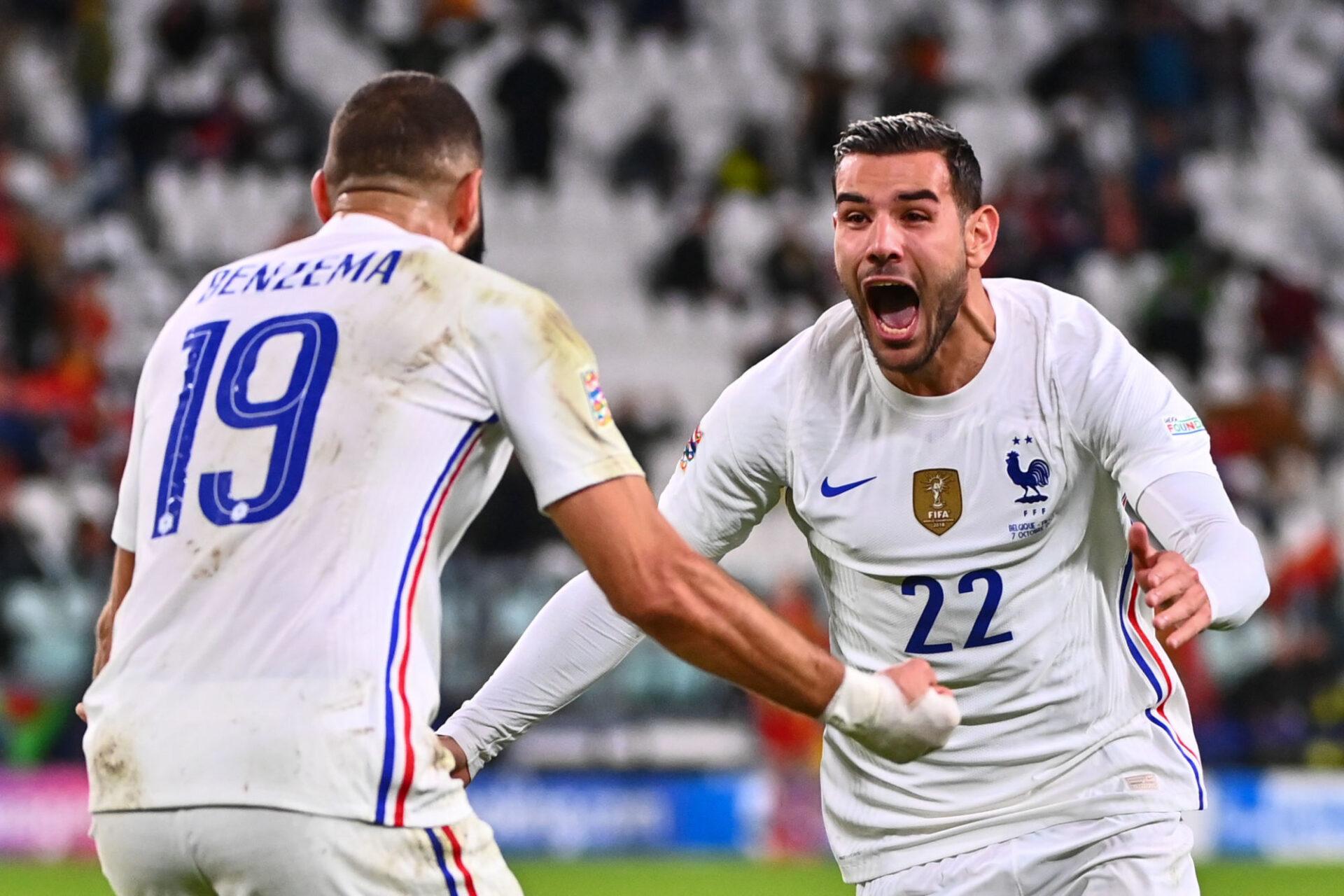 Théo Hernandez a symbolisé le désir brûlant des Bleus de ne pas se contenter du match nul et d'aller chercher la victoire. Icon Sport