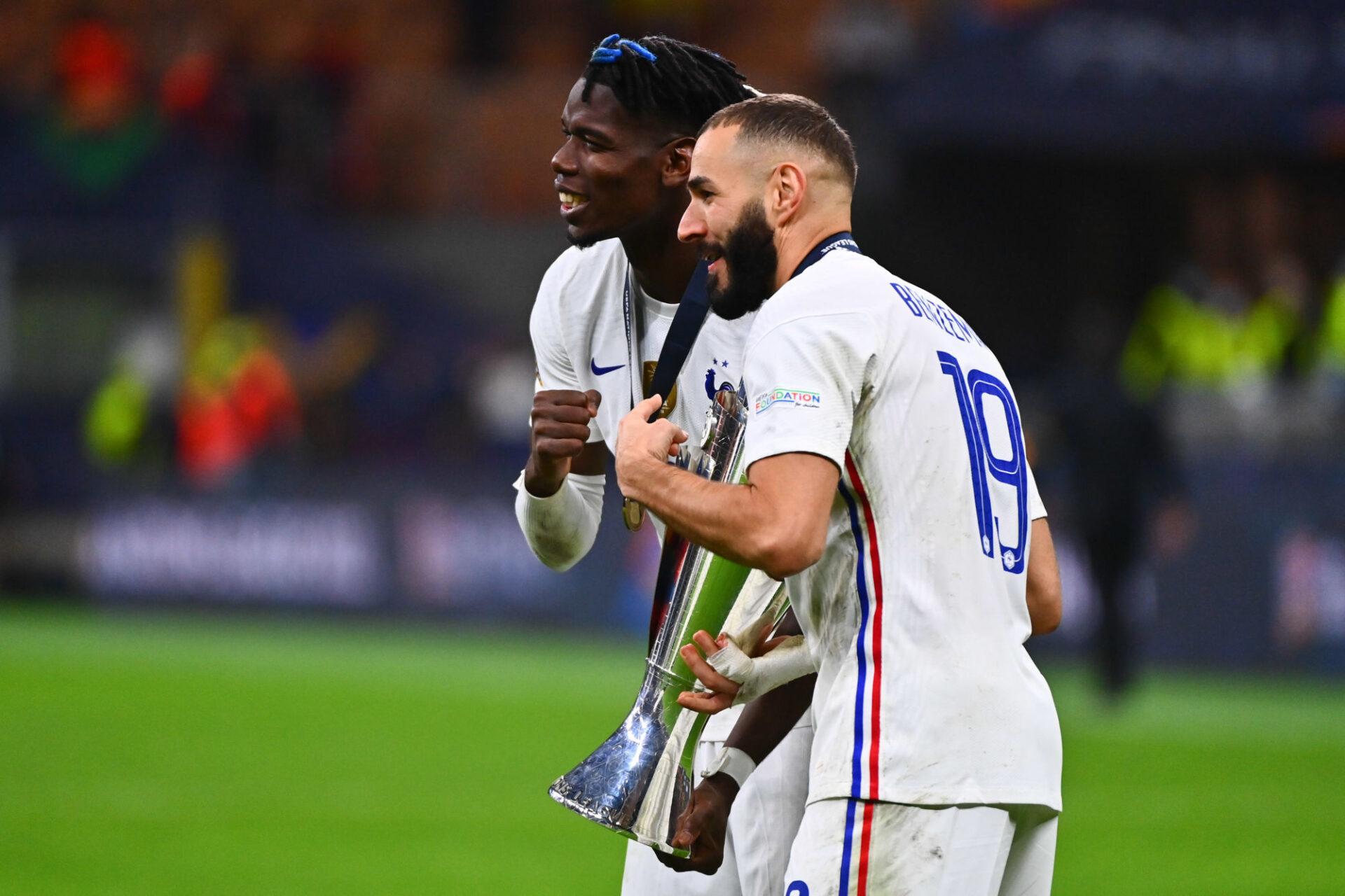 Karim Benzema avec la Ligue des nations, son premier trophée avec l'équipe de France. Icon Sport