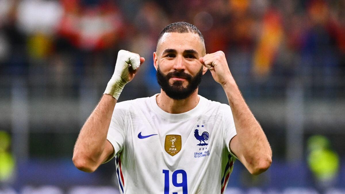 Karim Benzema comblé après le sacre des Bleus en Ligue des nations. Icon Sport