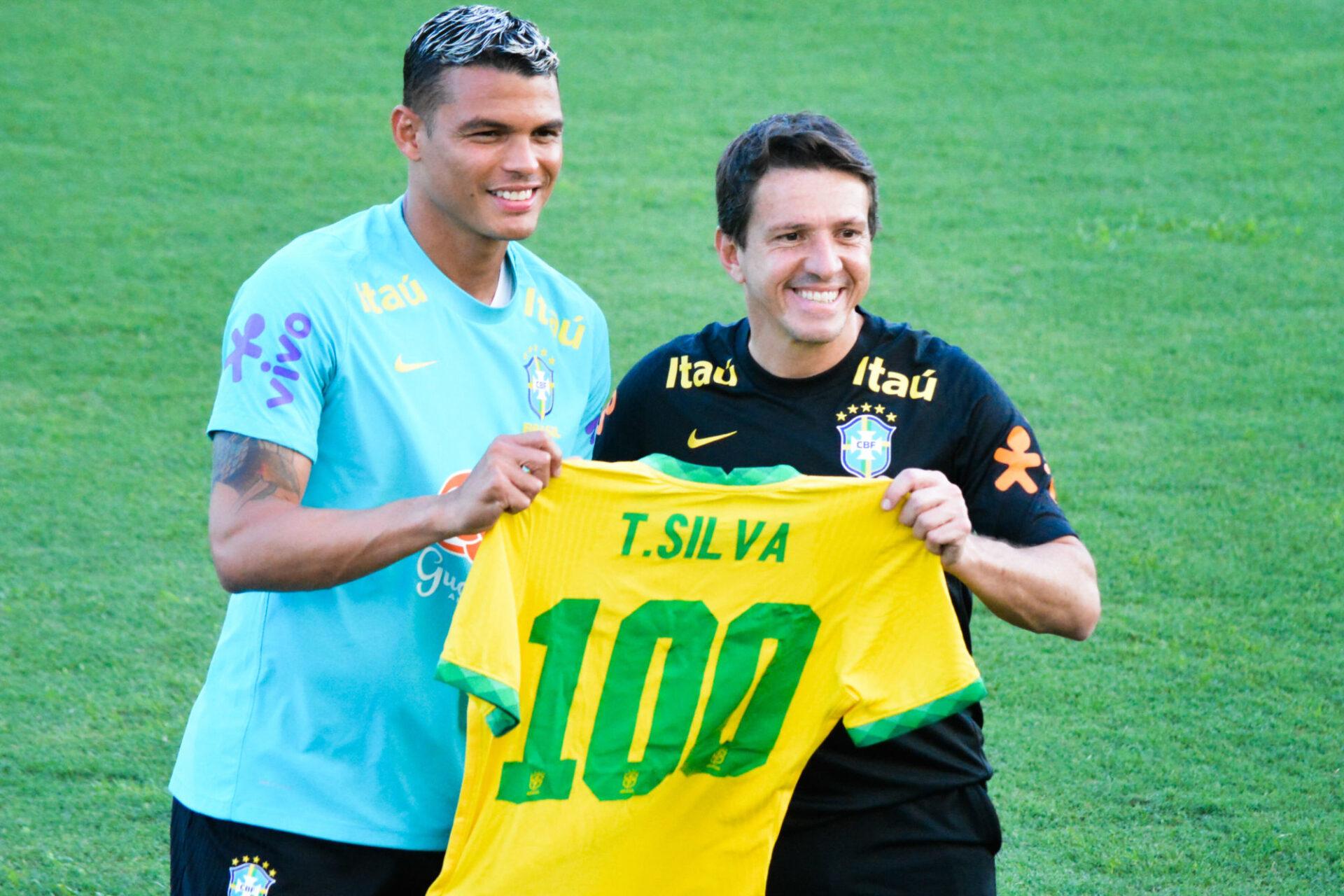 Thiago Silva a fêté sa 100e sélection contre la Colombie. Icon Sport