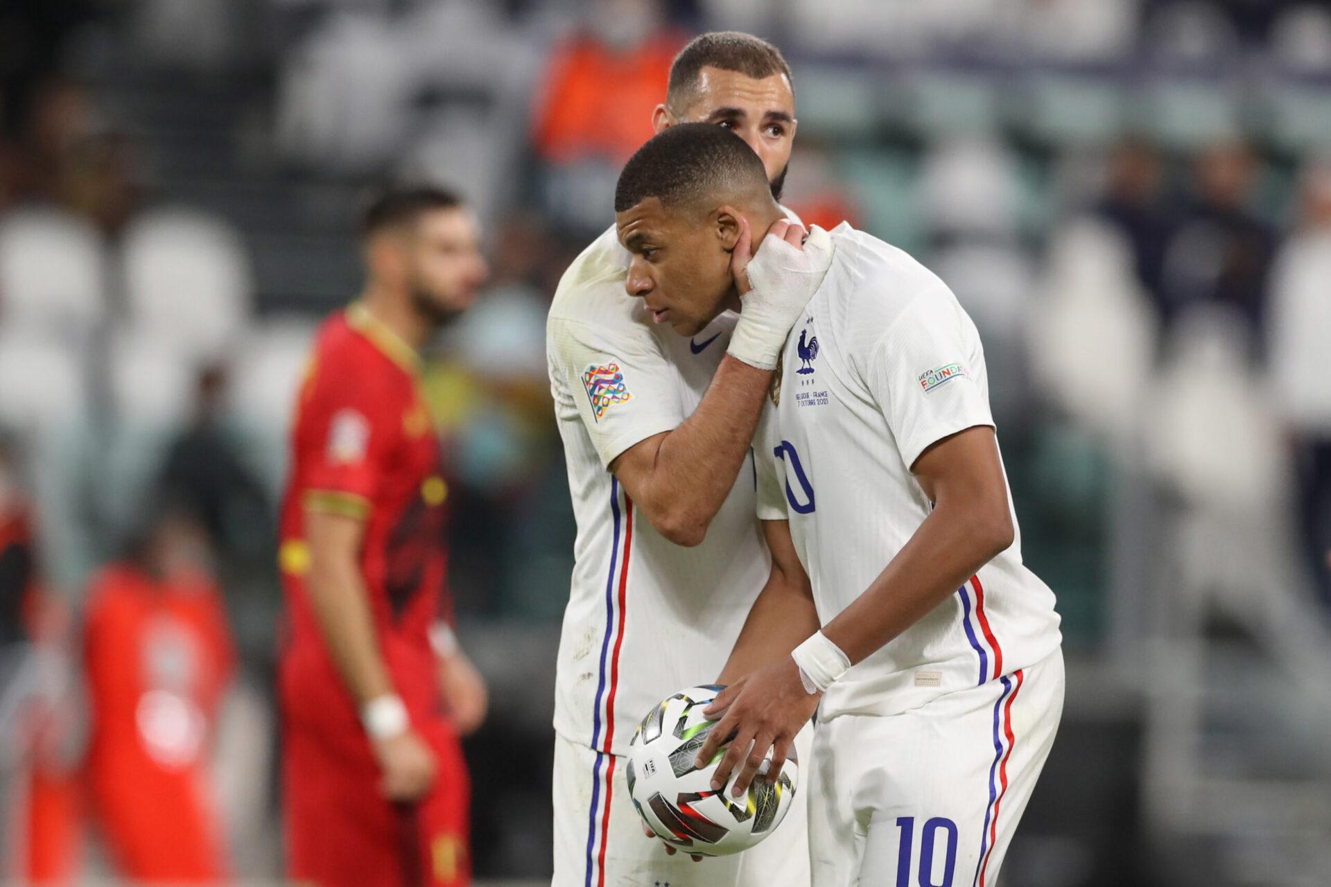 Karim Benzema n'a pas tari d'éloges sur Kylian Mbappé, son coéquipier en équipe de France. Icon Sport