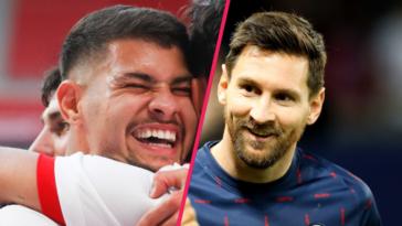 Bruno Guimarães (OL) et Lionel Messi (PSG) s'étaient étreint avant PSG-OL. Icon Sport