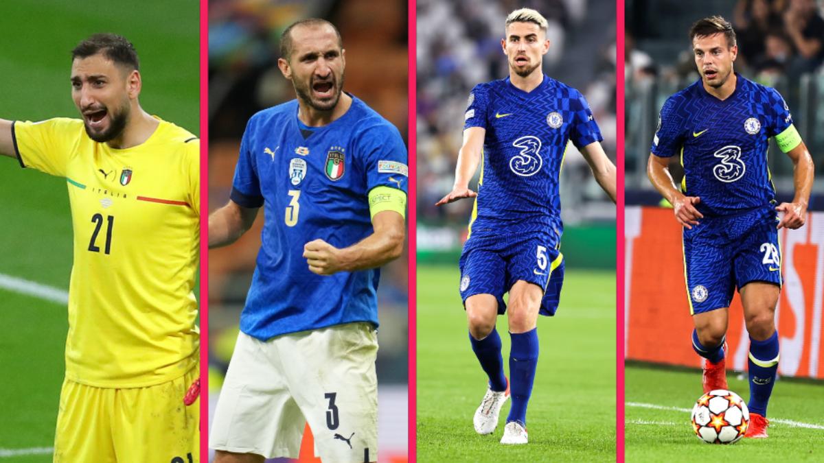 La liste fait la part belle aux champions d'Europe avec l'Italie (Euro) et Chelsea (Ligue des champions), dont Gianluigi Donnarumma, Giorgio Chiellini, Jorginho et César Azpilicueta (de gauche à droite). Icon Sport