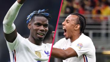Paul Pogba et Jules Koundé étaient aux anges après la victoire des Bleus. Icon Sport