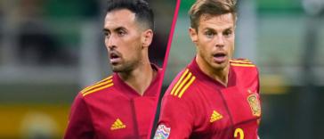 Sergio Busquets et César Azpilicueta circonspects après le but de Mbappé. Icon Sport